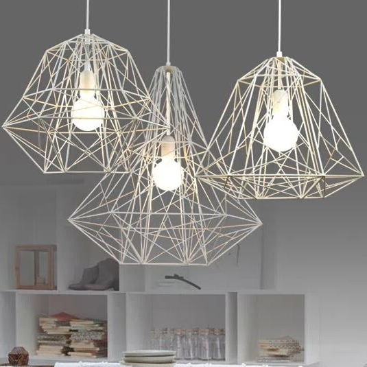 Latest Modern Light Chandelier Within Modern Minimalist Black White Silver Gold Wrought Iron Cage Pendant (View 7 of 10)