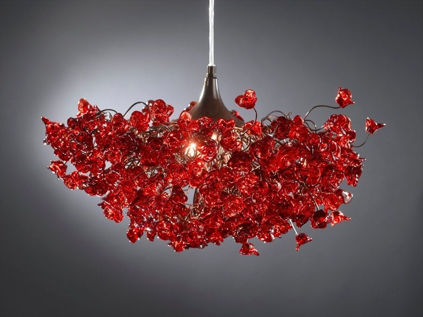 Latest Romantic Chandeliers With Red Roses Flowers For Living Room, Bedroom Throughout Red Chandeliers (View 4 of 10)
