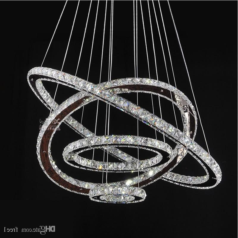 Led Chandeliers Crystal Round Rings Lighting Fixtures Modern Silver In Most Recently Released Modern Silver Chandelier (View 9 of 10)