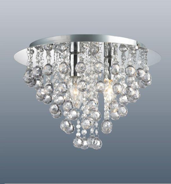 Light Fitting Chandeliers Within Widely Used Round 3 Light Chrome Ceiling Lights Flush Fitting Crystal Droplet (View 6 of 10)