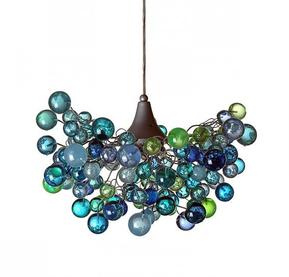 Lighting Chandelier With Sea Colored Bubblesyehudalight In Latest Turquoise Bubble Chandeliers (View 10 of 10)