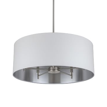 Linen Chandeliers Within Well Known Metal + Linen Chandelier – Small, White/silver Lining (View 6 of 10)