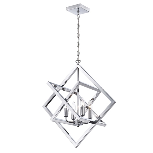 Lite Source Isidro Chrome Four Light Chandelier In Geometric Design Intended For Most Current Chandelier Chrome (View 7 of 10)