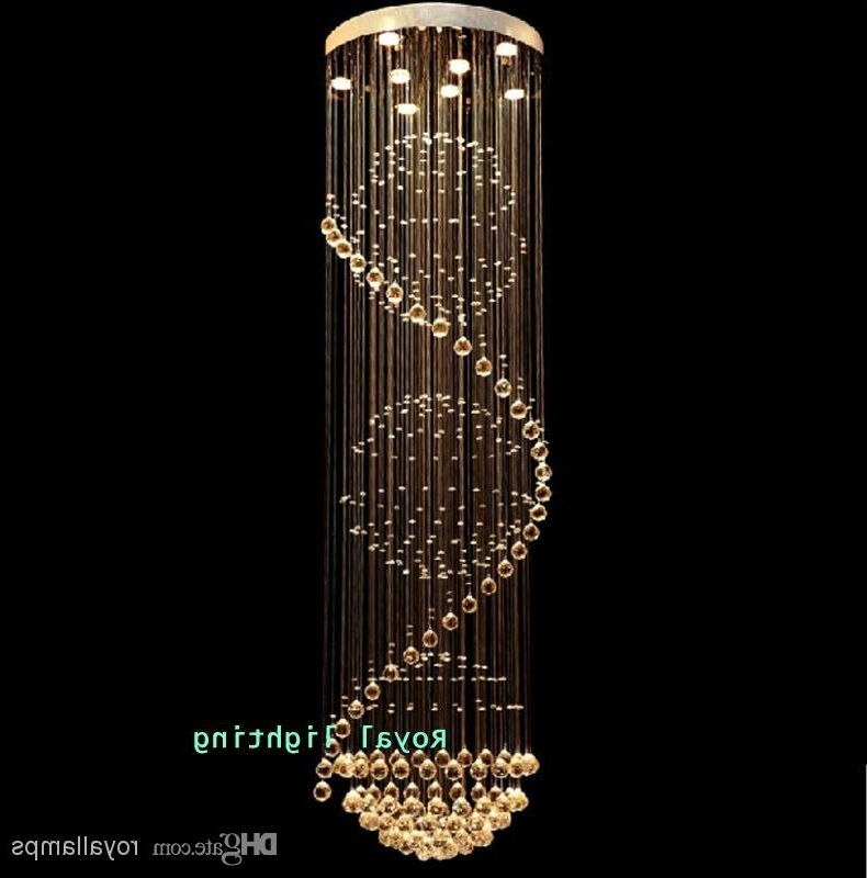 Long Chandelier Within Fashionable Big Stairway Crystal Chandelier Led Lamps Long Creative Europe (View 5 of 10)