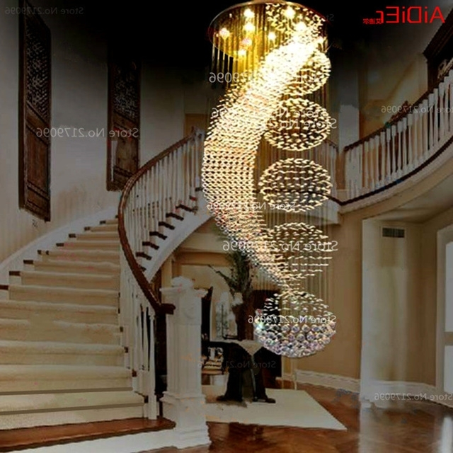 Long Double Staircase Modern Chandelier Lamp Led Crystal Llights Regarding 2017 Long Modern Chandelier (View 6 of 10)