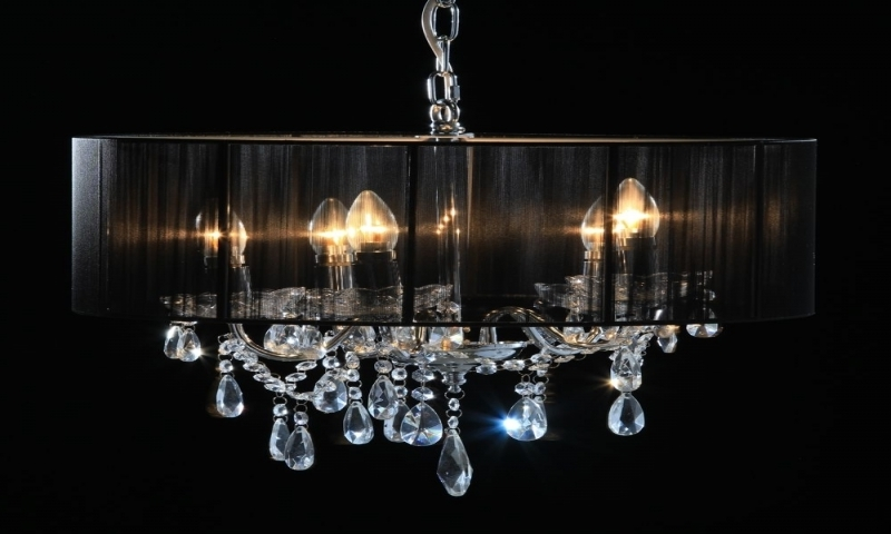 Lucinda Branch Chandelier Pertaining To Best And Newest Chrome 5 Branch Chandelier With Black Shade Lucinda Branch (Gallery 5 of 10)