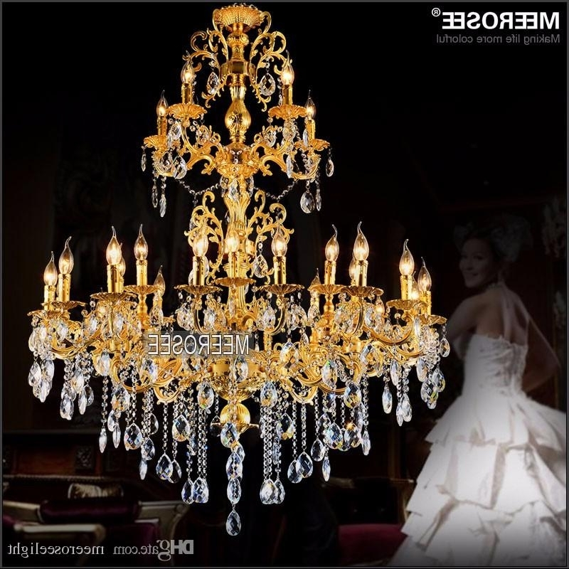 Luxurious Gold Large Crystal Chandelier Lamp Crystal Lustre Light Within Well Liked Crystal Gold Chandeliers (View 8 of 10)