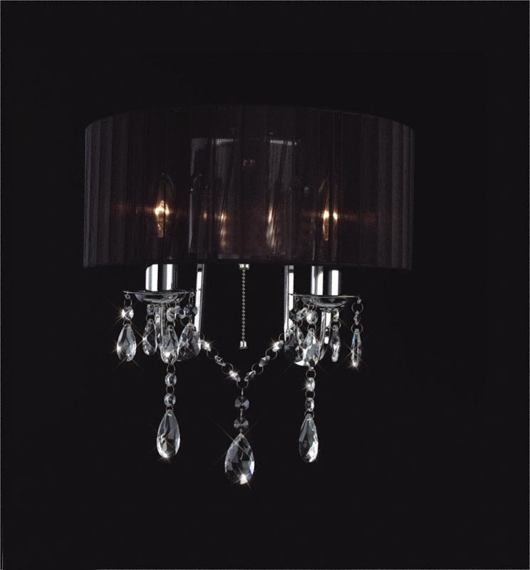 Madmoiselle Black Shaded Crystal Wall Light With Regard To Favorite Black Chandelier Wall Lights (View 2 of 10)