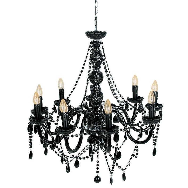 Mariah 9 Arm Black Glass Chandelier Regarding Best And Newest Black Glass Chandeliers (View 2 of 10)