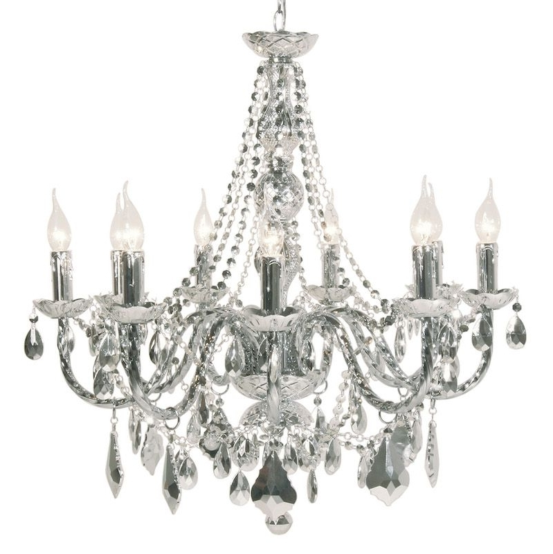 Mariah 9 Arm Silver Chrome Chandelier With Regard To Well Liked Chrome Chandelier (View 10 of 10)