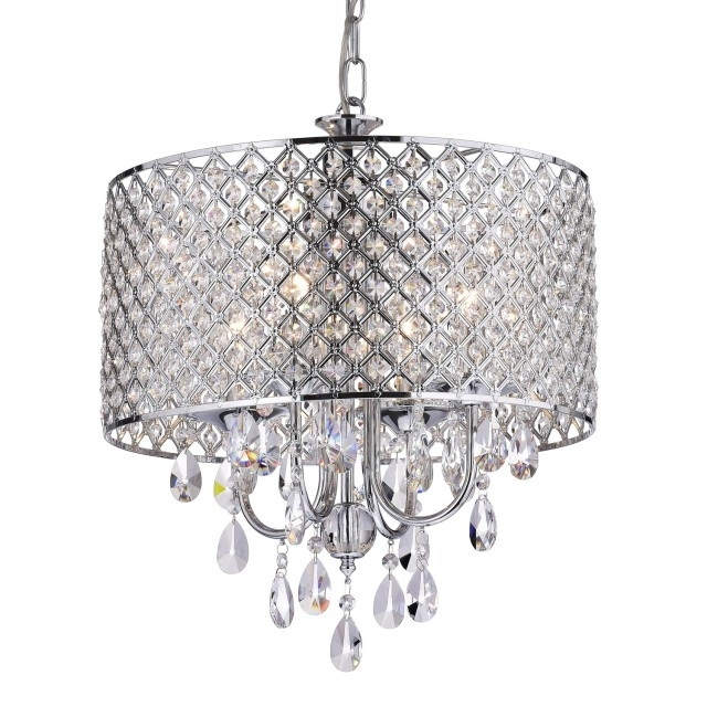 Marya 4 Light Round Drum Crystal Chandelier Ceiling Fixture Chrome For Latest Crystal Chrome Chandeliers (View 6 of 10)