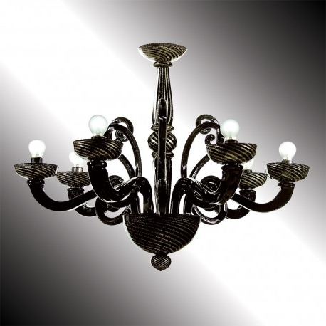 "Medea"" Black And Gold Murano Glass Chandelier – Murano Glass Chandeliers Intended For Current Black Glass Chandelier (View 3 of 10)"