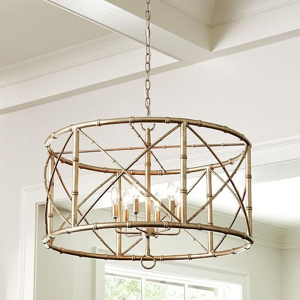 Metal Drum Chandeliers Within Widely Used 6 Light Gold Drum Chandelier (View 5 of 10)