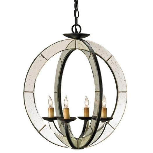 Mirror Panels Round Candle Chandelier For Trendy Antique Mirror Chandelier (View 7 of 10)