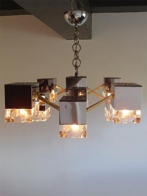 Mirrored Chandelier With Glass Cubes And Brassgaetano Sciolari In Preferred Mirrored Chandelier (View 10 of 10)
