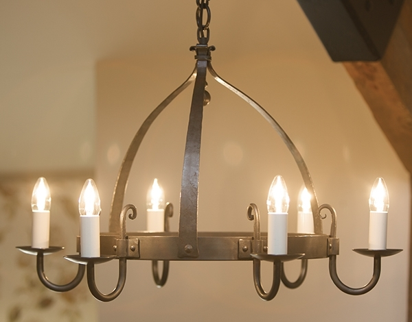 Mitre 6 Light Wrought Iron Chandelier (View 3 of 10)