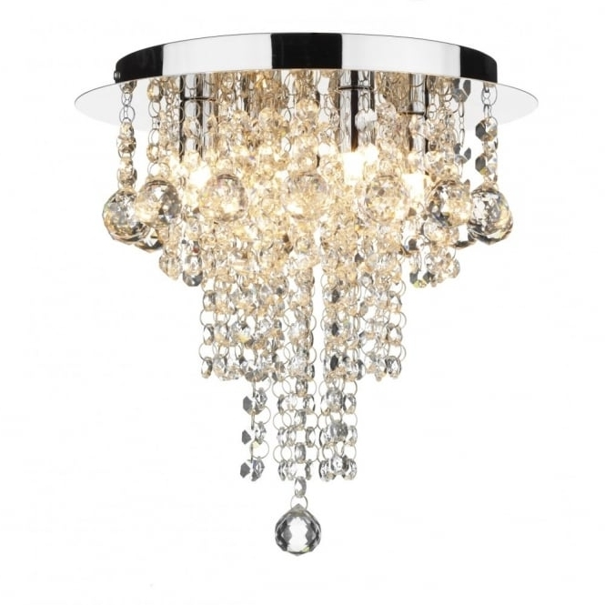 Modern Chandeliers For Low Ceilings Throughout Current Crystal Circular Low Ceiling Light With Cascading Beads & Droplets (View 5 of 10)