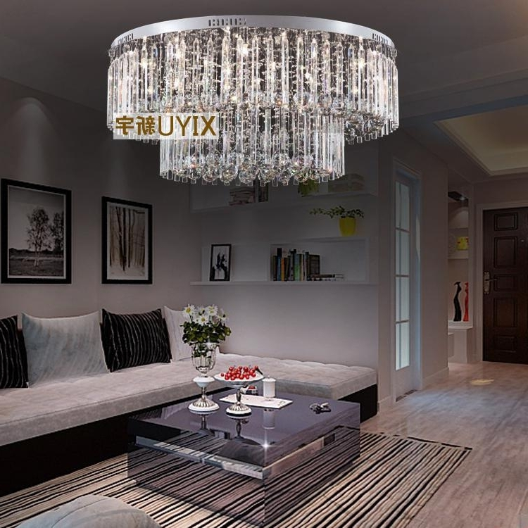 Modern Chandeliers For Low Ceilings Throughout Preferred 80*33 Cm Crystal Ceiling Lamp Modern Low Voltage Lights Round The (View 6 of 10)