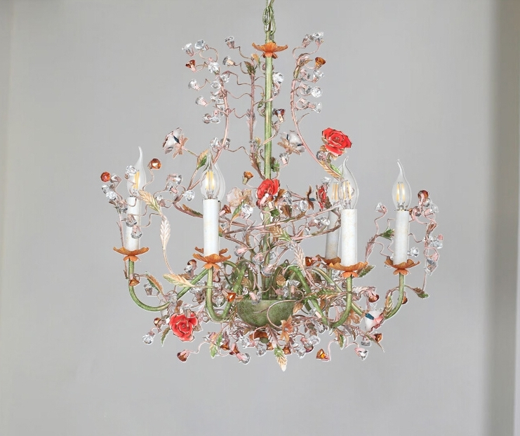 Modern Chandeliers Pertaining To Well Known Pastoral 6 Light Rose Shaped Crystal Chandelier Lighting (View 8 of 10)