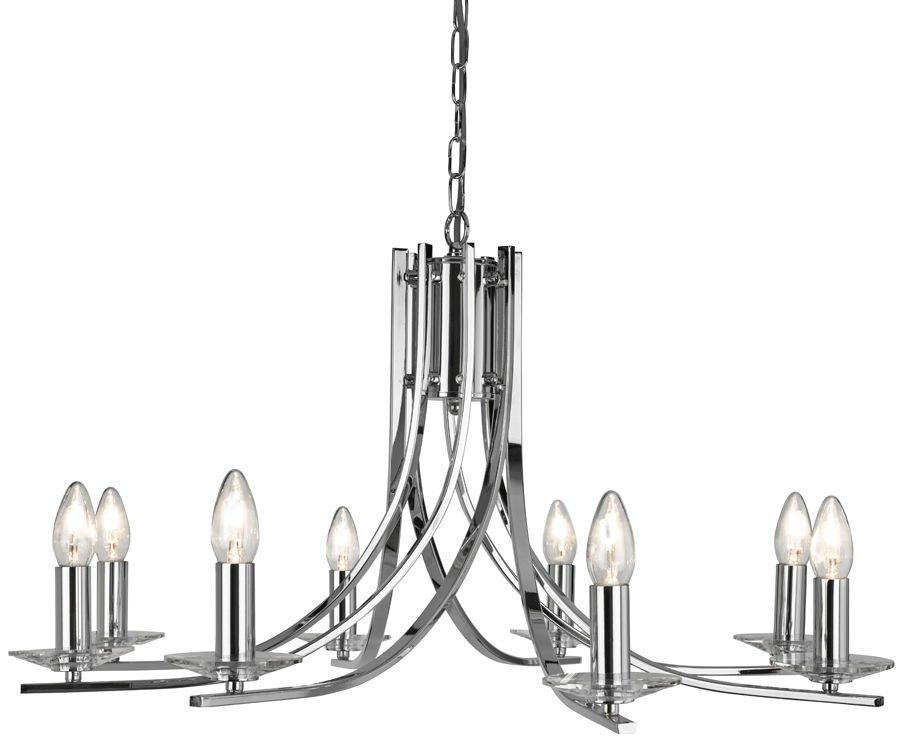 Modern Chrome Chandeliers Pertaining To Widely Used Ascona Modern Polished Chrome 8 Light Twist Chandelier 4168 8Cc With (View 8 of 10)