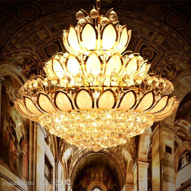 Modern Gold Crystal Chandeliers Lights Fixture European American With Regard To Favorite Crystal Gold Chandeliers (View 3 of 10)