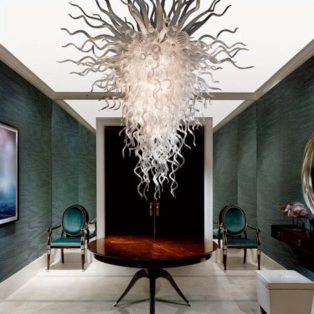Modern Large Chandelier In Latest Shimmering Glass And Crystal Chandeliers For Your Home (View 7 of 10)