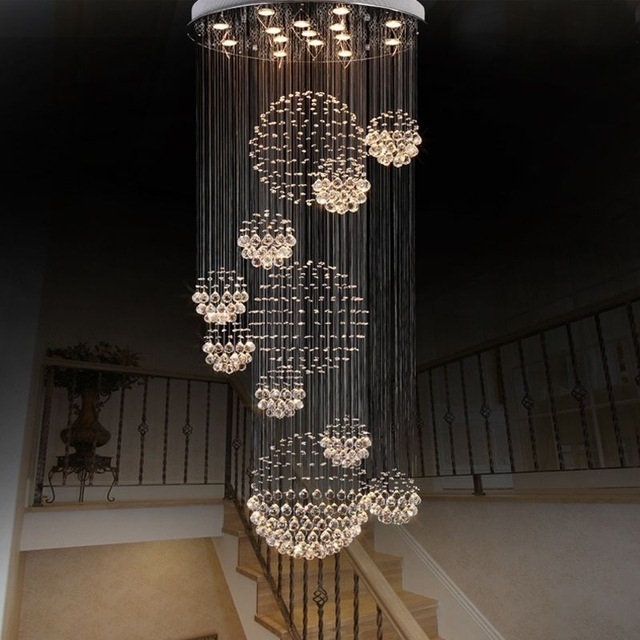 Modern Large Crystal Chandelier Light Fixture Foyer Long Spiral Pertaining To Latest Hotel Chandelier (View 10 of 10)