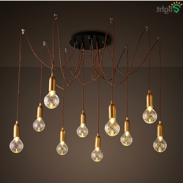 Modern Simple Glass Diy Led Chandeliers Lustre Copper Loft Bar Led In Widely Used Copper Chandelier (View 3 of 10)