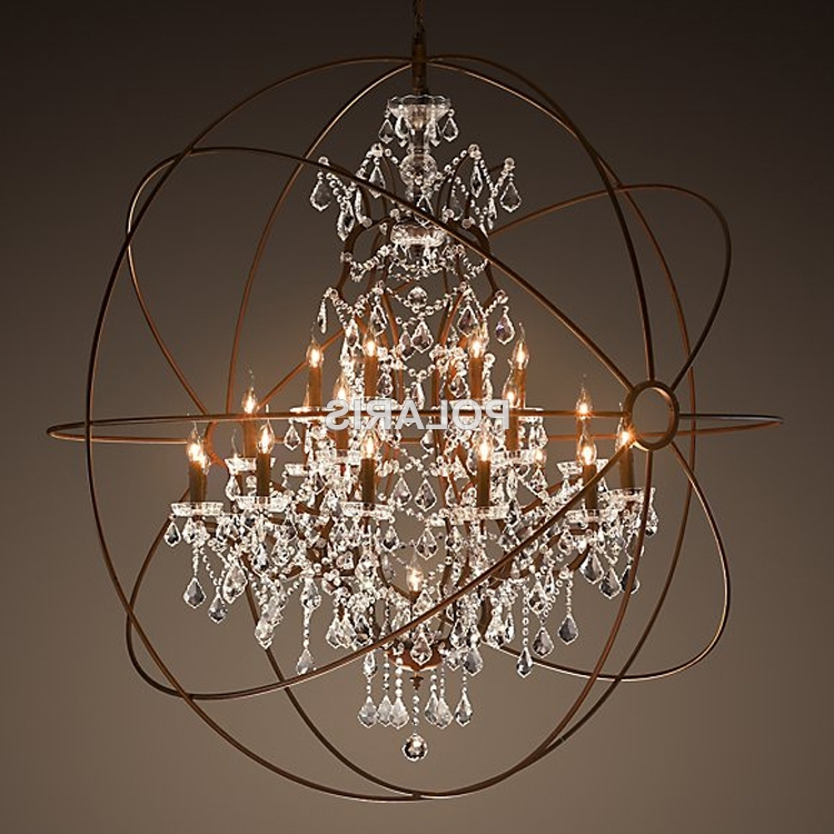 Modern Vintage Orb Crystal Chandelier Lighting Rustic Candle In Most Recently Released Orb Chandeliers (View 10 of 10)