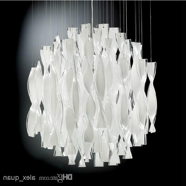 Modern White Chandelier Pertaining To Well Known Hybrid Type Stair Large Chandelier Modern Glass Pendant Light (View 5 of 10)