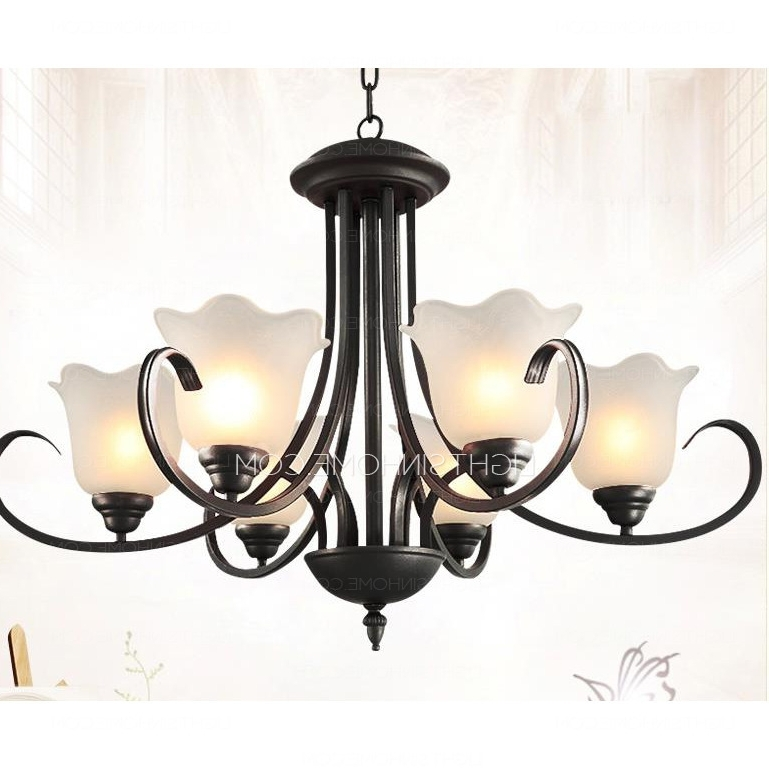 Modern Wrought Iron Chandeliers Pertaining To Favorite Modern 6 Light Black Wrought Iron Chandeliers E26/e27 Bulb Base (View 5 of 10)
