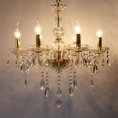Most Current Bedroom 6 Arms Mini Led Candle Chandelier Light Modern Crystal Within Candle Light Chandelier (View 3 of 10)