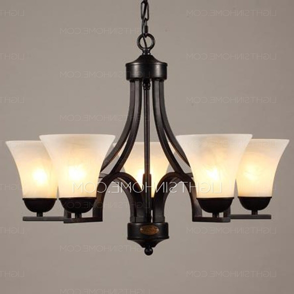 Most Current Black Iron Chandeliers With Black 5 Light Wrought Iron Chandeliers With E27 Lamp Holder (View 5 of 10)