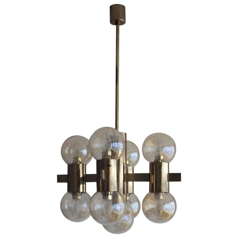 Most Current Italian Brass Smoked Glass Chandelier, 1970S For Sale At 1Stdibs Inside Smoked Glass Chandelier (View 4 of 10)