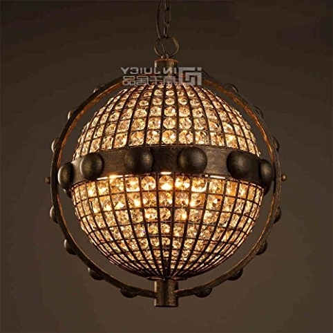 Most Current Metal Ball Chandeliers Intended For Injuicy Lighting Loft Retro Industrial Globe K9 Crystal Metal Ball (View 9 of 10)