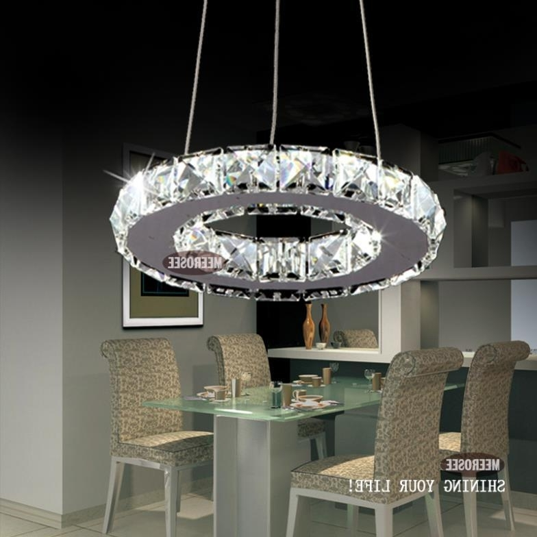 Most Current Modern Silver Chandelier With Regard To Modern Silver Crystal Ring Led Chandelier Pedant Crystal Lamp (View 3 of 10)