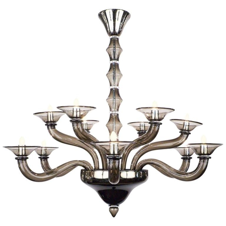 Most Current Smoked Glass Chandelier Regarding Murano Smoked Gray Mercury Glass Chandelier – Jean Marc Fray (View 5 of 10)