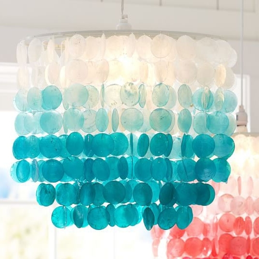 Most Current Turquoise Chandelier Lights Within Turquoise Ombre Capiz Chandelier (View 7 of 10)