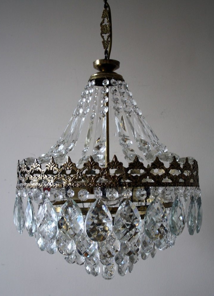 Most Current Vintage French Chandeliers With Antique * Vintage French Basket Style Brass & Crystals Chandelier (View 6 of 10)