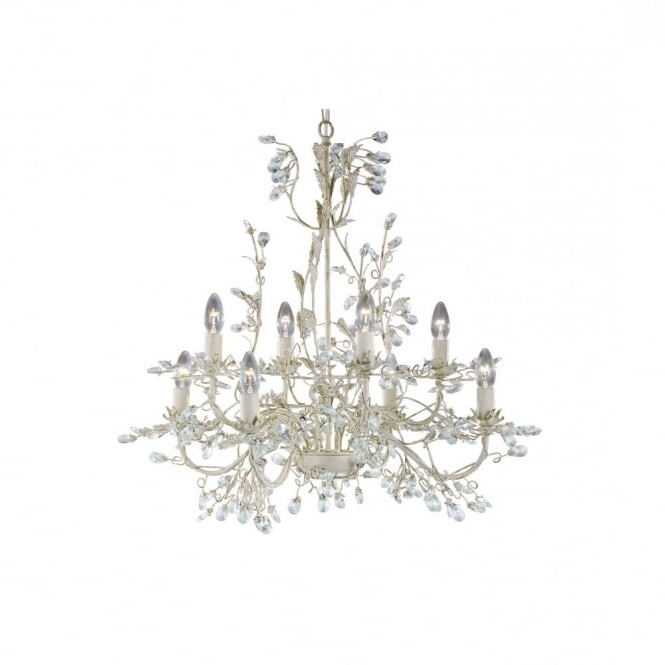 Most Popular Almandite 8 Light Cream & Gold Chandelier Light With Crystal Droplets Inside Cream Gold Chandelier (View 7 of 10)