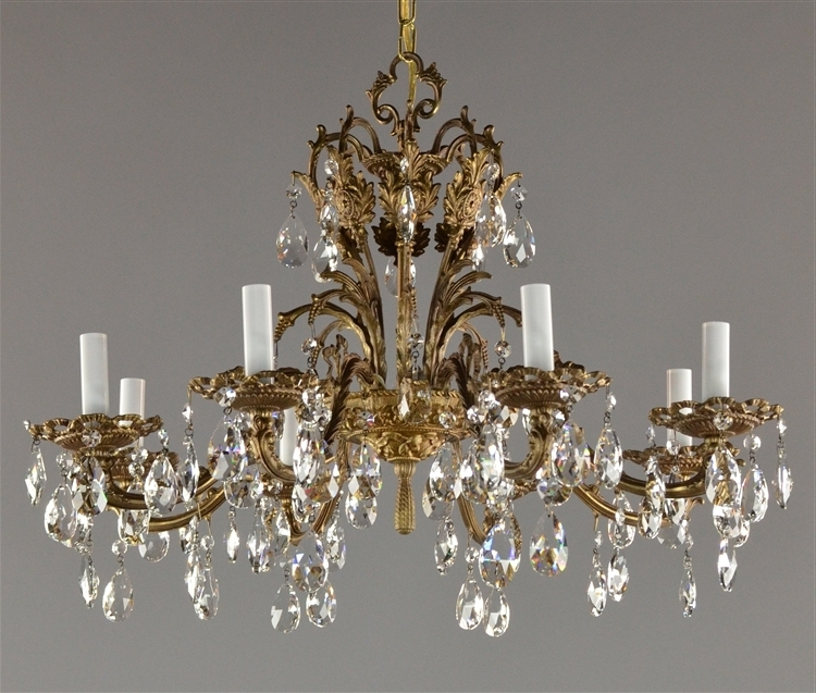 "Most Popular Brass And Crystal Chandeliers Intended For 27"" Spanish Brass & Czech Crystal Chandelier C (View 7 of 10)"