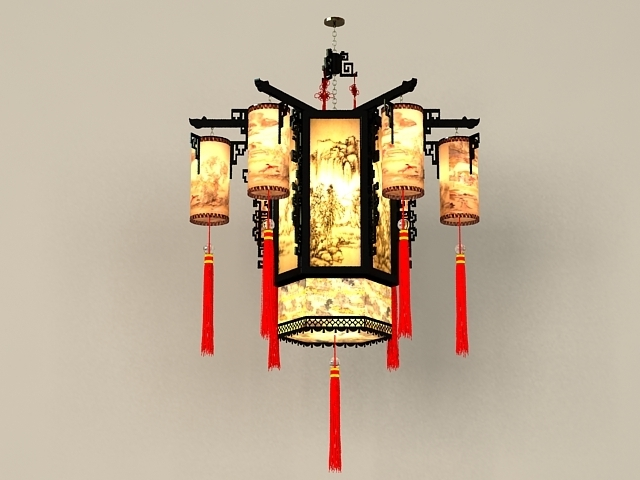 Most Popular Chinese Chandelier Within Chinese Antique Chandelier Light Fixtures 3D Model 3Ds Max Files (View 7 of 10)