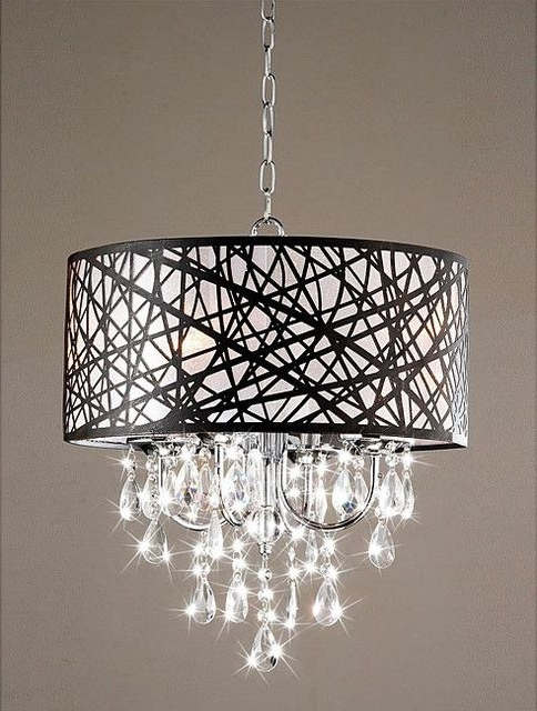 Most Popular Contemporary Chandeliers In Indoor 4 Light Chrome Antique Bronze Chandelier Contemporary (View 8 of 10)