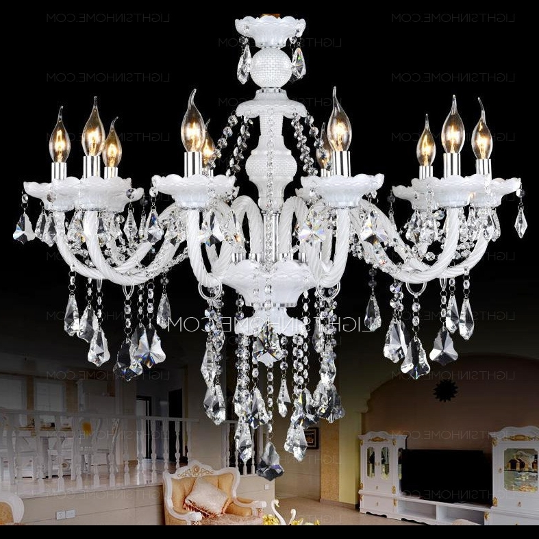 Most Popular Luxury 10 Light Candle Type Hanging White Crystal Chandelier Pertaining To White And Crystal Chandeliers (View 7 of 10)