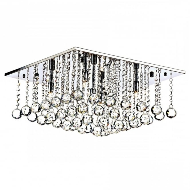 Most Popular Modern Chandeliers For Low Ceilings With Square Chrome And Crystal Flush 5 Light Chandelier For Modern Settings (View 8 of 10)