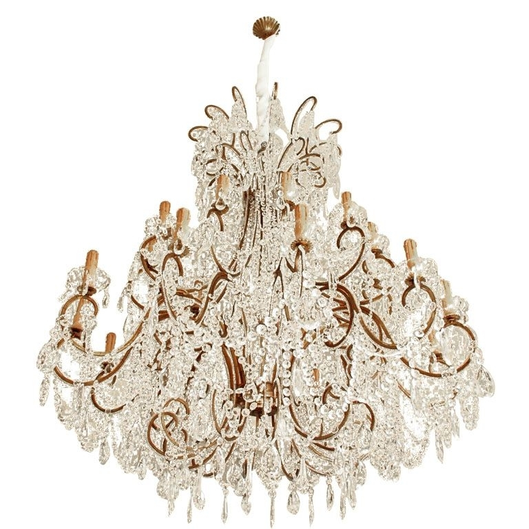 Most Popular Vintage Italian Chandelier Intended For Impressive Italian Chandelier With Vintage Murano Glass Crystals (View 5 of 10)