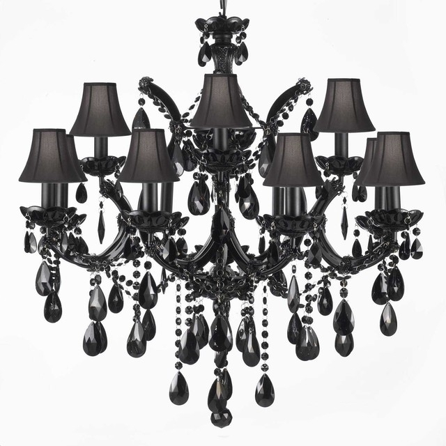 Most Recent Jet Black Chandelier Crystal With Black Shades – Traditional Regarding Chandeliers With Black Shades (View 9 of 10)