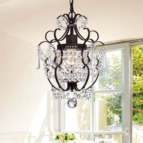 Most Recent Rosalie 1 Light Antique Bronze 11 Inch Crystal Chandelier – Free For Bronze And Crystal Chandeliers (View 8 of 10)