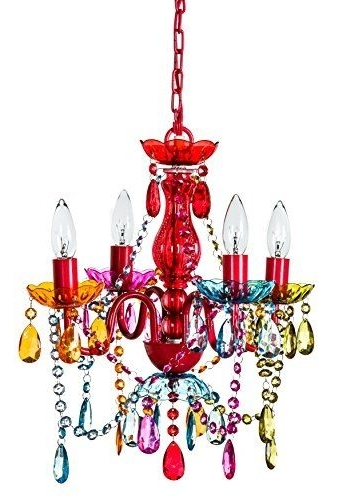 Most Recent Small Gypsy Chandeliers Pertaining To Gypsy Color 4 Arm Multi Color Small Acrylic Crystal Chandelier New (View 2 of 10)