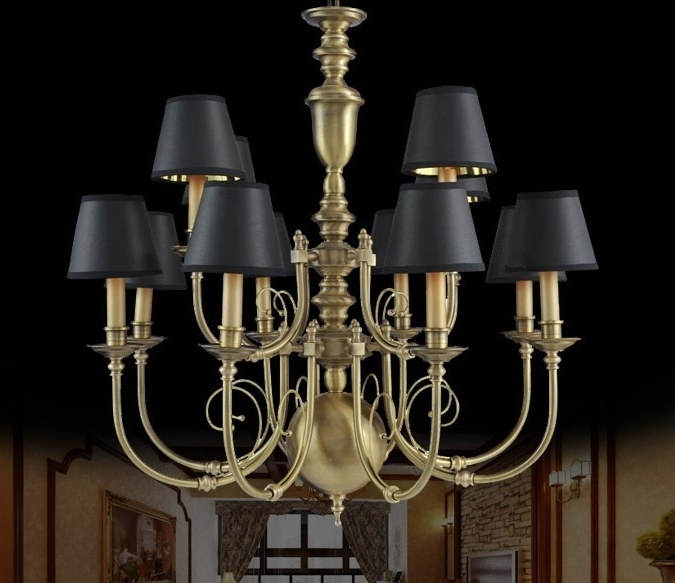 Most Recently Released Black Chandeliers With Shades Pertaining To Furniture : Antique French Country Mini Chandelier With Ceramic Lamp (View 7 of 10)